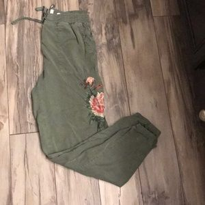 Anthropologie embroidered cargo pants